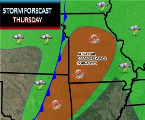 This graphic from the National Weather Service in Springfield shows what forecasters there are concerned about for Thursday.