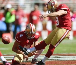 Phil Dawson kicks one of his five field goals to help beat the Chiefs. (photo/NFL)