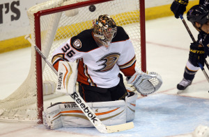 Anaheim Ducks goaltender John Gibson loses track of the puck as the St. Louis Blues attack in the first period at the Scottrade Center in St. Louis on October 30, 2014. UPI/Bill Greenblatt