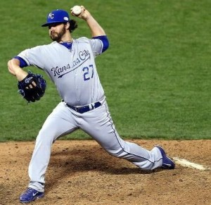 Brandon Finnegan delivers in the seventh inning for Ned Yost (photo/MLB)