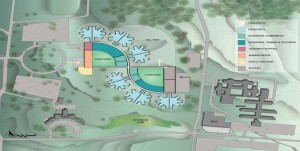 The new Fulton State Hospital facility would include 12 wards built back-to-back (shown in light blue) and courtyards for recreation.  (courtesy; Missouri Department of Mental Health)
