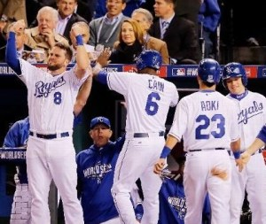 The Royals celebrate two runs scoring in the second inning of Game 6 of the World Series. (photo/MLB)