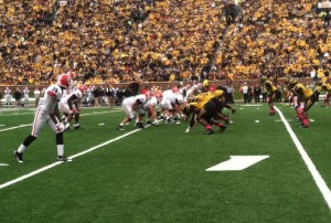 Georgia sets up on their first touchdown drive inside the Mizzou 15. (photo/Emily Dayton)