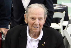 Former University of Missouri football player and assistant football coach John Kadlec, shown in this April 12, 2014 file photo, had died at the age of 86 in Columbia, Missouri on October 29, 2014. A native of St. Louis, Kadlec was recruited by legendary Mizzou Head Coach Don Faurot. He was an all-conference lineman during his time at Mizzou and went on to serve as an assistant football coach under Faurot as well as Frank Broyles, Dan Devine and Al Onofrio.   UPI/FILES/Bill Greenblatt