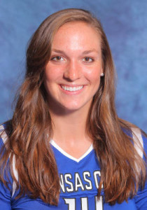 Melissa Hartsel led UMKC to an upset win in volleyball over the Missouri Tigers, (photo/UMKC Athletics)