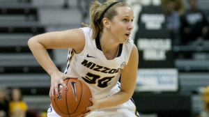 Missouri Women's Basketball senior Morgan Eye during a basketball game in 2013.  (Photo courtesy/Mizzou Athletics)