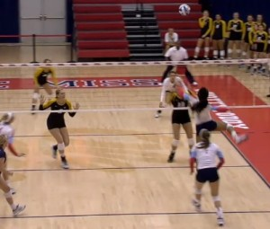 Ole Miss goes for a kill during the first set in their win over Mizzou