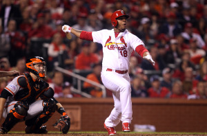 St. Louis Cardinals outfielder Oscar Taveras (22) shown in this file photo at Busch Stadium in St. Louis on October 12, 2014, has reportedly been killed in a traffic accident in his home country of the Dominican Republic on October 26, 2014. Taveras' girlfriend also died in the crash, according to police in Puerto Plata.  UPI/FILE/Bill Greenblatt