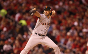 San Francisco Giants starting pitcher Madison Bumgarner delivers a pitch to the St. Louis Cardinals in the first inning of Game 1 of the National League Championship Series at Busch Stadium on October 11, 2014. San Francisco won the game 3-0.   UPI/BIll Greenblatt