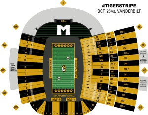 Check your tickets to find out if you're sitting in a gold section, or a black section. (photo/Mizzou Athletics)