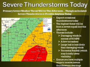 This graphic from the National Weather Service in St. Louis illustrates the severe weather threat today.
