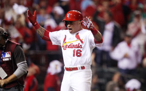 St. Louis Cardinals Kolten Wong reacts as he crosses home plate after hitting a two run home run in the seventh inning against the Los Angeles Dodgers in Game 3 of the NLDS at Busch Stadium in St. Louis on October 6, 2014.   UPI/Bill Greenblatt