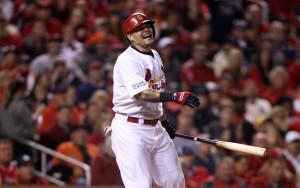 St. Louis Cardinals Yadier Molina is in pain after swinging in the sixth inning against the San Francisco Giants in Game 2 of the National League Championship Series at Busch Stadium on October 12, 2014. Molina left the game. UPI/BIll Greenblatt