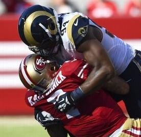 The Rams sacked Colin Kapernick eight times on Sunday (photo/NFL)