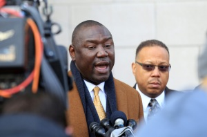 Anthony Gray (R) and Benjamin Crump, attorneys for the Michael Brown family, read a statement from the family at the Justice Center in Clayton, Missouri on November 13, 2014, in response to a press conference held earlier in the week by Governor Jay Nixon. On November 11, Nixon outlined a plan to deal with the possibility of protests. Some have been critical of the use of riot gear and the National Guard during past protests.  UPI/Bill Greenblatt