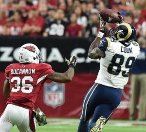 Rams tight end Jared Cook hauls in a pass for an eventual Rams touchdown (photo/NFL, St. Louis Rams)