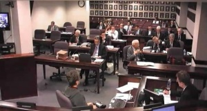 A representative of Clean Line Energy (lower right) is questioned by attorneys about Clean Line's proposed Grain Belt Energy project during a Missouri Public Service Commission hearing.