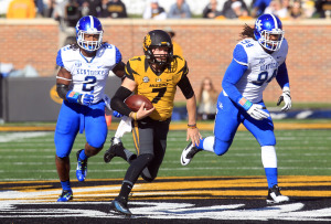 Missouri Tigers quarterback Maty Mauk outruns the Kentucky Wildcats defense in the first quarter at Faurot Field in Columbia, Missouri on November 1, 2014. Missouri defeated Kentucky 20-10.  UPI/Bill Greenblatt