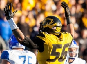 Shane Ray celebrates after making a stop against Kentucky (photo/Mizzou Athletics)