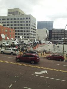 The scene earlier today outside the St. Louis County Government building in Clayton.