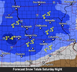 This graphic from the National Weather Service's Kansas City office shows the predicted snowfall for the weekend.