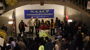 NAACP President Cornell William Brooks spoke at the Association's rally at the end of its Journey for Justice, at the Missouri State Capitol December 5, 2014.
