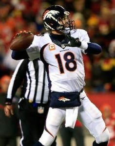 Peyton Manning threw two touchdown passes on Sunday night. (photo/NFL)