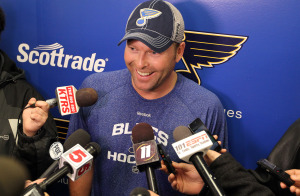 New St. Louis Blues goaltender Martin Brodeur talks with reporters after signing a one year deal with the team in Hazelwood, Missouri on December 2, 2014. Brodeur has played his entire National Hockey League career with the New Jersey Devils and is regarded as one of the greatest goaltenders of all time. The Blues number one goaltender, Brian Elliott is Òweek-to-weekÓ with a lower-body injury.   UPI/Bill Greenblatt