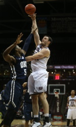 The Bears Christian Kirk shoots over an ORU defender (photo/Missouri State Athletics)