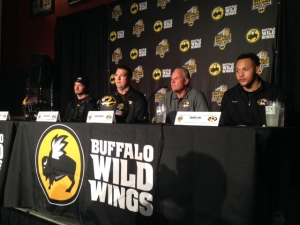 Maty Mauk, Josh Henson, Dave Steckel and Shane Ray (L-R) answer questions at Media Day for the Citrus Bowl.