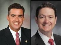 Senate President Pro Tem Tom Dempsey (left) and Speaker Tim Jones