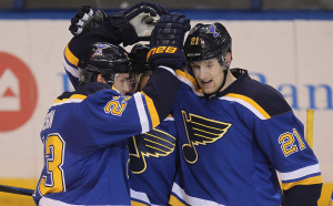 St. Louis Blues Patrik Berglund of Sweden (21) celebrates his third period goal with teammates against the San Jose Sharks at the Scottrade Center in St. Louis on January 8, 2015.   Photo by Bill Greenblatt/UPI
