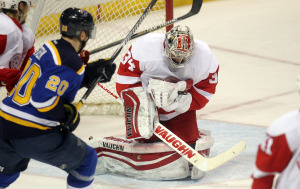 Detroit Red Wings goaltender Petr Mrazek of the Czeck Republic makes a save on a shot by St. Louis Blues Alexander Steen in the first period at the Scottrade Center in St. Louis on January 15, 2015. Photo by Bill Greenblatt/UPI