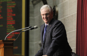 Missouri Governor Jay Nixon smiles to the gallery before delivering the annual State of the State address at the state capitol in Jefferson City, Missouri on January 21, 2015.    Photo by Bill Greenblatt/UPI