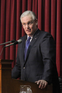 Missouri Governor Jay Nixon addresses the state legislature during the annual State of the State address at the state capitol in Jefferson City, Missouri on January 21, 2015.    Photo by Bill Greenblatt/UPI