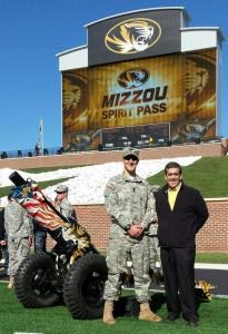 Representative Jeff Grisamore (right) and his son, Joel, with Mizzouka.