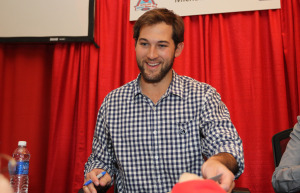 St. Louis Cardinals pitcher Michael Wacha talks with fans during Day 2 of the St. Louis Cardinals Winter-Up in St. Louis on January 18, 2015. Warm-Up allows fans to get close up to their favorite players of the past, present and future. Photo by Bill Greenblatt/UPI