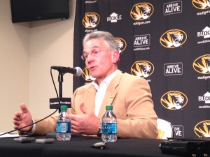 Missouri's Director of Athletics Mike Alden explains the new full cost of attendance.  (photo/Bill Pollock)