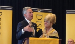 Mike Alden and his wife Rockie at his press conference on Friday, January 30, 2015