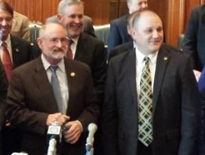 Senator Brian Munzlinger (R-WIlliamstown) (left) and Representative Denny Hoskins (R-Warrensburg)