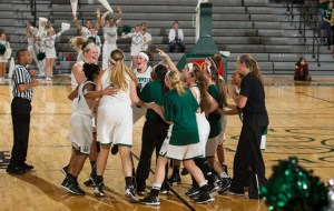 The Northwest Missouri women celebrate their last second win (photo/Northwest Missouri State Athletics)