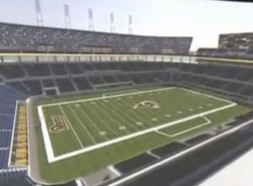 A view of the seating arrangements from inside the proposed stadium.