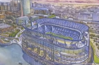 The proposed new football stadium would be open air and located on the edge of the Mississippi River.