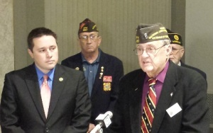 Senator Ryan Silvey (left) and Dewey Riehn, legislative chairman of the Missouri Veterans of Foreign Wars.