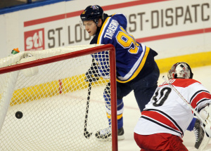 St. Louis Blues Vladimir Tarasenko of Russia watches his puck go into the net past Carolina Hurricanes goaltender in the third period at the Scottrade Center in St. Louis on January 10, 2015. St. Louis won the game in overtime 5-4.   Photo by Bill Greenblatt/UPI