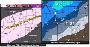 This graphic from the National Weather Service in Pleasant Hill (Kansas City) shows predicted snowfall totals from northwest through central Missouri, and where a light glaze of ice is possible.