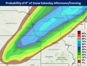 This graphic from the National Weather Service in St. Louis shows the areas with the greatest chance of having four inches of snow by Saturday afternoon.