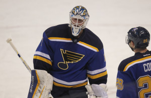 St. Louis Blues goaltender Brian Elliott skates to the bench after giving up three goals to the Dallas Stars in the first period at the Scottrade Center in St. Louis on February 17, 2015. Elliott was replaced by Jake Allen.  Photo by BIll Greenblatt/UPI