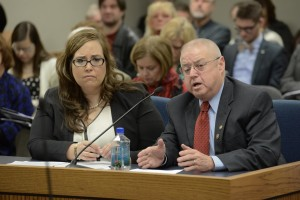 Michelle Rider (left) says HB 217 sponsored by Representative Ken Wilson (right) would help parents facing situations similar to hers regarding custody of her son, Isaiah.  (courtesy; Tim Bommel, Missouri House Communications)