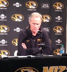 Kim Anderson takes a moment to reflect on a question at Thursday's press conference at Mizzou Arena